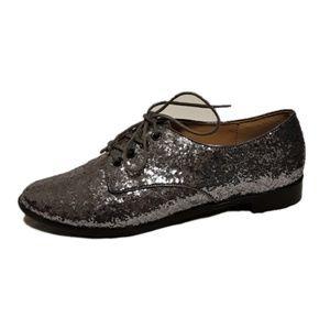 Forever 21 Silver Glitter Oxfords